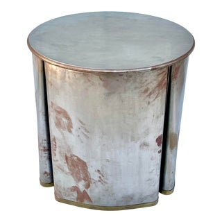 Metal and Brass Skirted Rotating Table For Sale