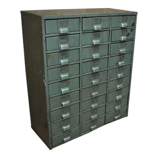 Vintage Industrial 27-Drawer Steel Filing Storage