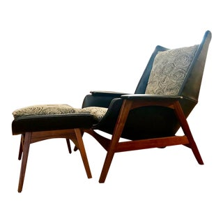 Rare Mid Century Modern Malabar Lounge Chair W/ Ottoman by Mel Abitz for Galloway Furniture For Sale