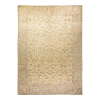 """Oushak, One-Of-A-Kind Hand-Knotted Area Rug - Ivory, 10' 3"""" X 13' 10"""" For Sale"""