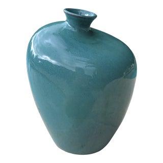 Vintage Modernist Blue Green Teal Freeform Ceramic Vase For Sale