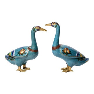 Antique Early 20th c.Chinese Cloisonne Ducks, A-Pair For Sale