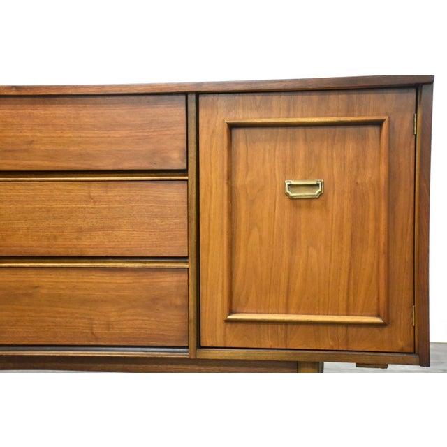 Walnut & Brass MCM Long Dresser For Sale - Image 4 of 11
