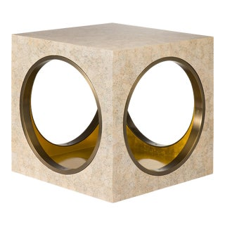 Circles & Squares Table Eggshell in Eggshell / Brass - Steven Gambrel for The Lacquer Company For Sale