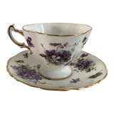 "Image of 1950's English Bone China ""Victorian Violets Countrysides"" Teacup and Saucers For Sale"
