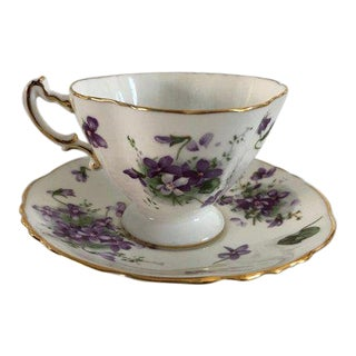 "1950's English Bone China ""Victorian Violets Countrysides"" Teacup and Saucers For Sale"