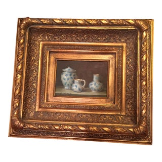 Original English Country Estate Still Life Painting in Gold Frame For Sale
