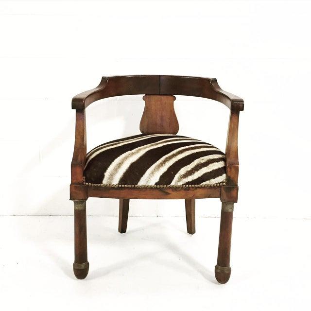 Walnut Zebra Seat Barrel Chair - Image 3 of 5