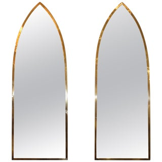Mid-Century Modern Italian Brass Arched Frame Mirrors For Sale