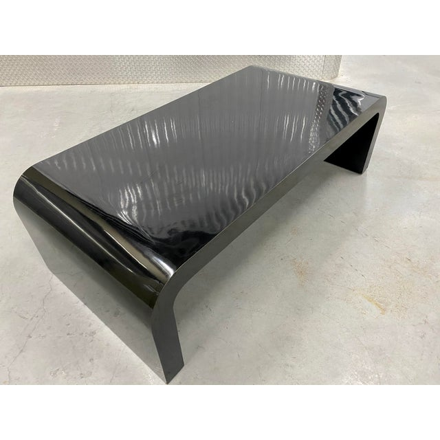 Karl Springer Inspired Waterfall Lacquered Coffee Table For Sale - Image 9 of 9