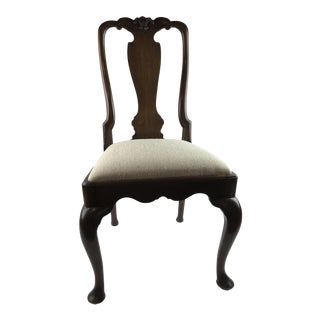 Early 1800's Quene Anne Wool Upholstered Wooden Side Chair For Sale