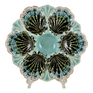 Five-Lille French Majolica Turquoise Shell Oyster Plate For Sale