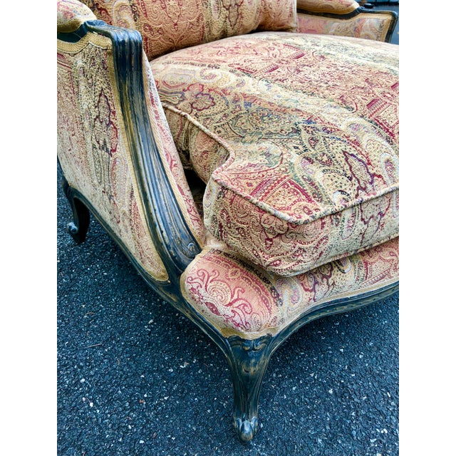 Red Vintage French Bergere Chair With Paisley Upholstery For Sale - Image 8 of 13