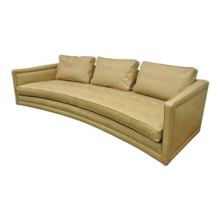 1960s Vintage Harvey Probber Long Curved Button Tufted Beige Leather Sofa For Sale
