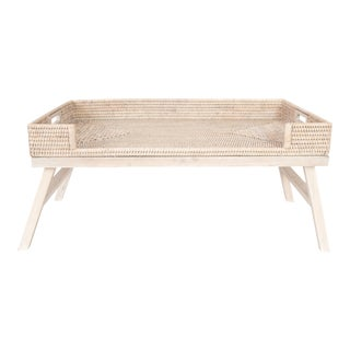Artifacts Rattan Breakfast Tray/Table - White Wash For Sale