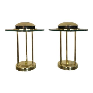 Mid 20th Century Robert Sonneman Style Saturn Lamps for Kovacs - a Pair For Sale