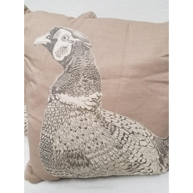 This pair of square brown, black and white game bird pillows were made in Wales, UK., by a small cottage...