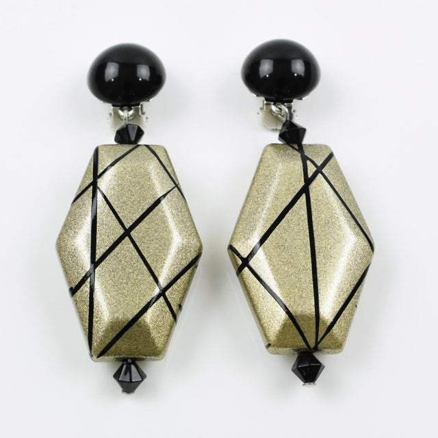 Contemporary Angela Caputi Dangling Clip on Earrings Black and Pale Gold Resin For Sale - Image 3 of 6