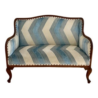 Vintage Chevron Fabric Upholstered Bench Settee For Sale