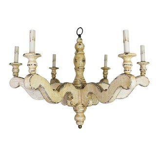 Vintage Painted Wood Chandelier For Sale