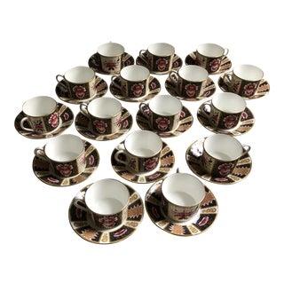 Coalport Bone China Cups & Saucers, Java Pattern, Set of 16 For Sale