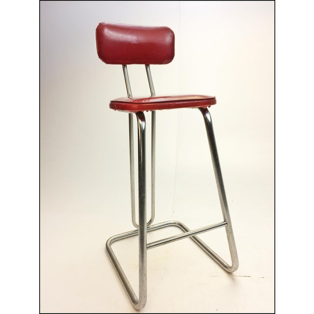 Mid Century Modern Red Vinyl Bar Stool - Image 3 of 11