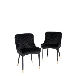 Merlin Diamond Upholstered Dining Chairs - a Pair For Sale