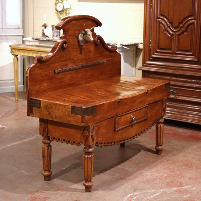 Late 19th Century 19th Century French Carved Butcher Block With Back and Bronze Cow Head For Sale - Image 5 of 13