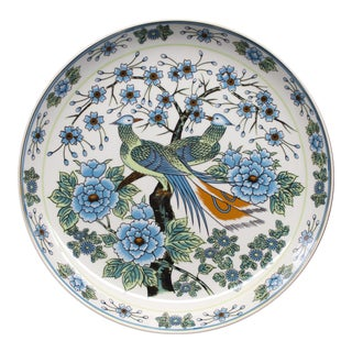 Decorative Bird Plate With Floral Motifs