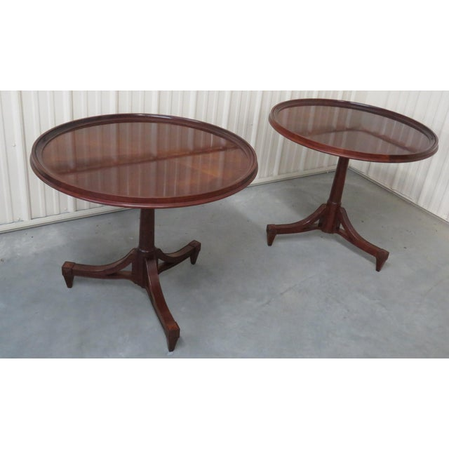Mahogany Mid Century Baker Furniture Center Tables - a Pair For Sale - Image 7 of 7