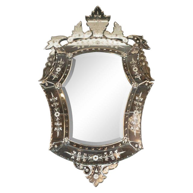 Mid-Century Modern Neoclassical Venetian Cartouche Form Chain Bevelled Mirror For Sale