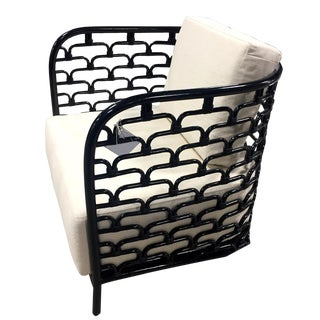 Black & White Rattan Club Chair