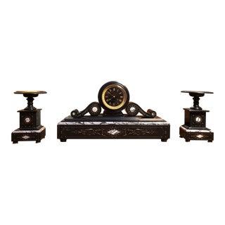 Antique French Clock Garniture Set - 3 Pieces For Sale