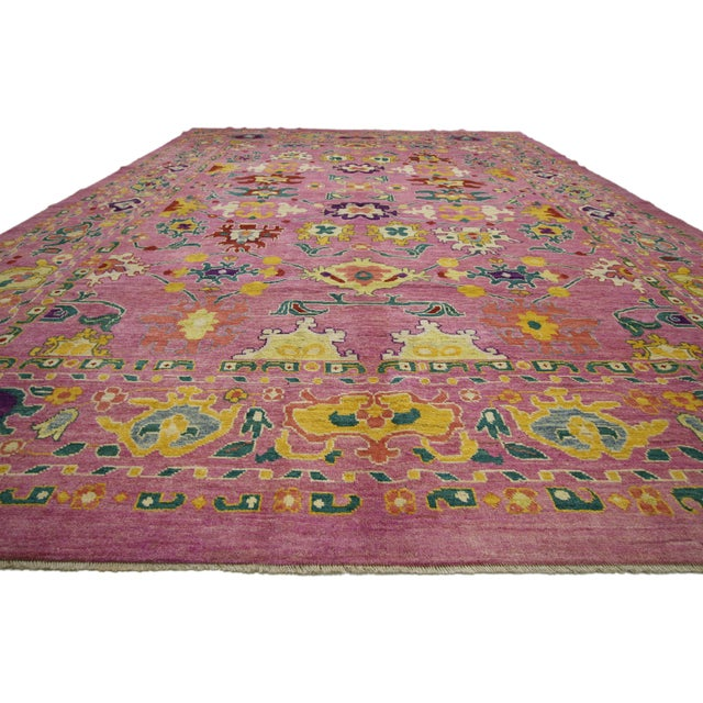 "20th Century Vintage Turkish Oushak Rug - 12' X 16'10"" For Sale In Dallas - Image 6 of 9"