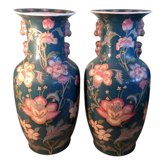 Vintage Dynasty By Heygill Large Porcelain Vases A Pair Chairish
