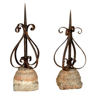 Pair of 19th Century French Finials Mounted on Granite Bases For Sale