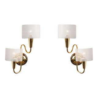 1950s French Sculptural Sconces in the Style of Mathieu Matégot - a Pair For Sale