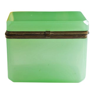 Antique French Green Opaline Jewelry or Trinket Box