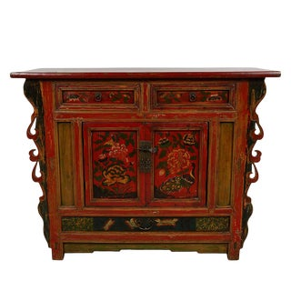 Antique Chinese Carved Color Painted Console Cabinet For Sale