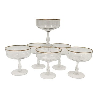 Vintage Gold Rim Champagne Coupes For Sale