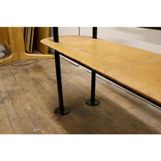 Vintage Ettore Sottsass Postmodern Memphis Group Style Steel and Leather Bench For Sale - Image 10 of 13