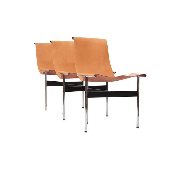 Animal Skin Laverne International T Chairs in Natural Cognac Leather For Sale - Image 7 of 11