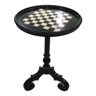 Chippendale Decorative Painted Checker Board Side Table For Sale