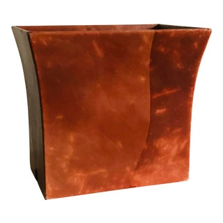 Mid-Century Patchwork Leather Wastebasket, 1980s For Sale