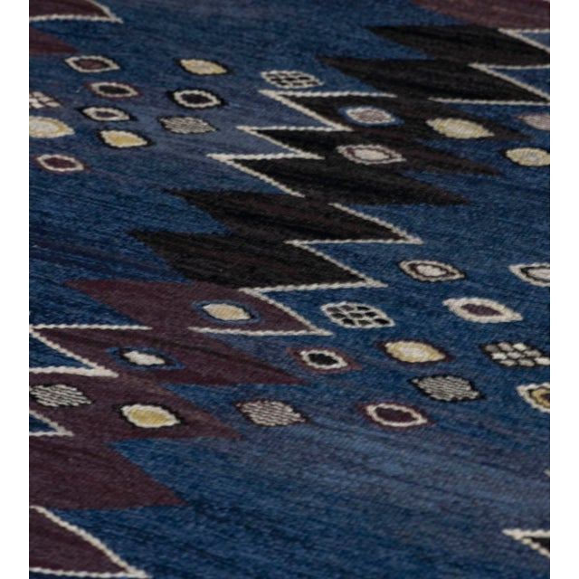 Mid 20th Century Mid 20th Century Signed Mid-Century Wool Handwoven Swedish Rug For Sale - Image 5 of 8