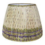 Image of Gathered Lamp Shade Made With Cream, Purple, and Green Vintage Sari For Sale