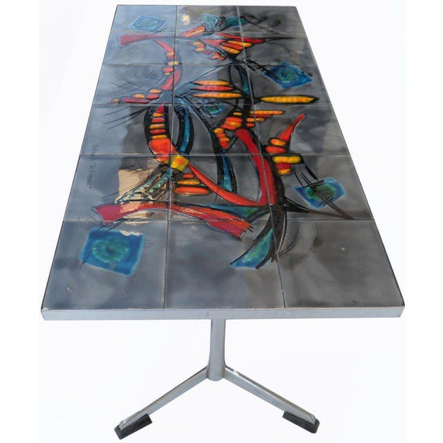 """1970s Signed Vallauris """"La GRANGE""""coffee Table For Sale - Image 5 of 6"""