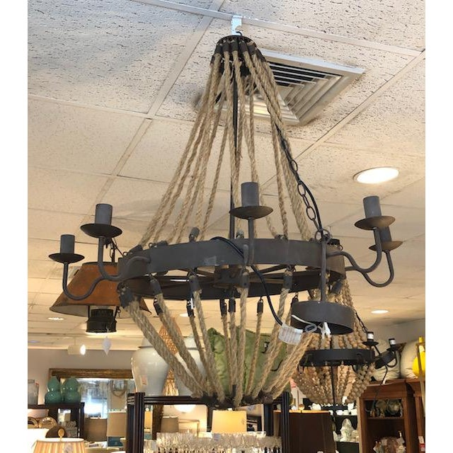 Brown 8 Arm Iron and Rope Chandelier For Sale - Image 8 of 8