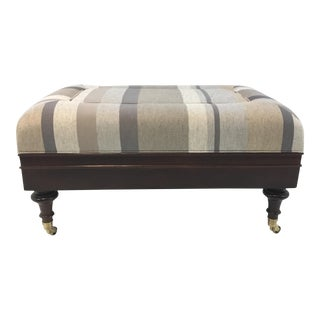 Alexa Hampton for Hickory Chair Alex Transitional Gray Stripe Bench For Sale