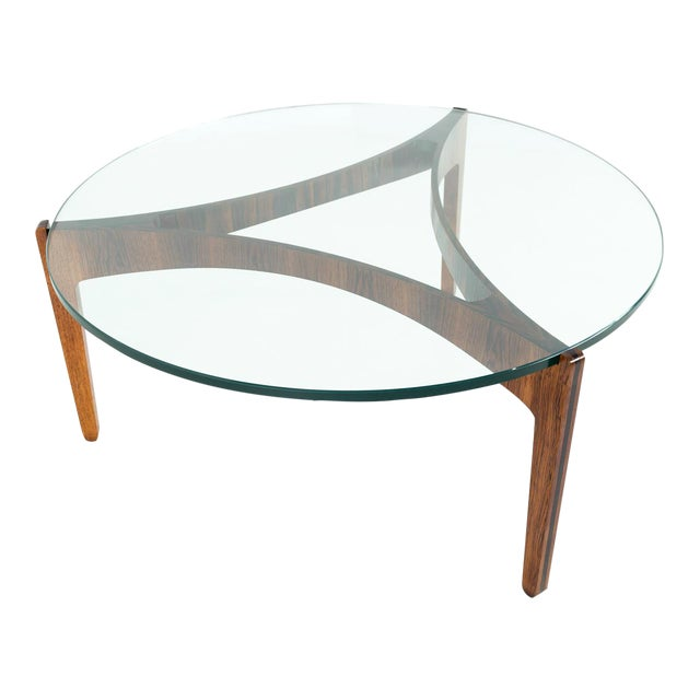 Mid Century Modern Sven Elekjaer Rosewood And Glass Round Coffee Table
